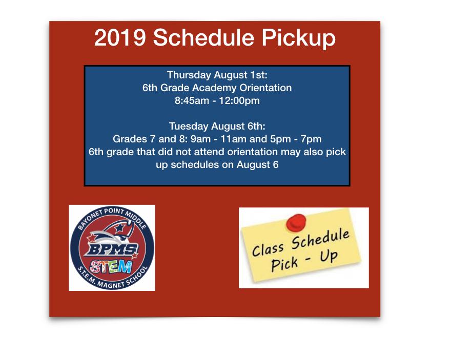 2019 Schedule Pickup